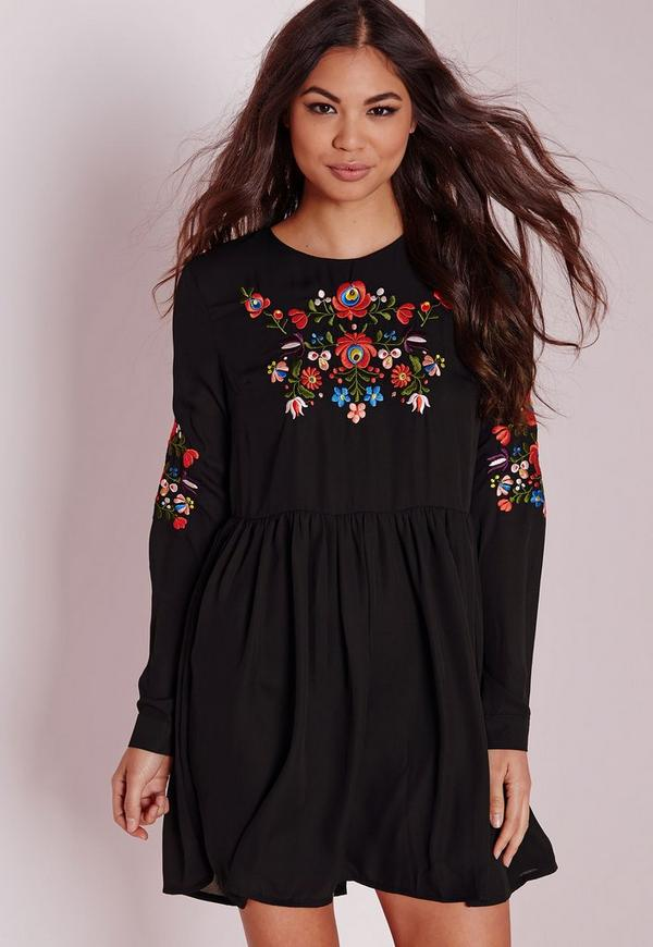 Long Sleeve Embroidered Front & Sleeve Dress Black | Missguided