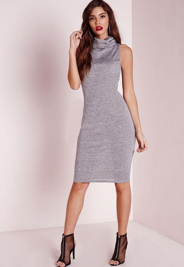 Roll Neck Midi Bodycon Dress Grey