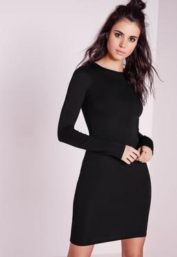 Robe courte moulante noire en jersey