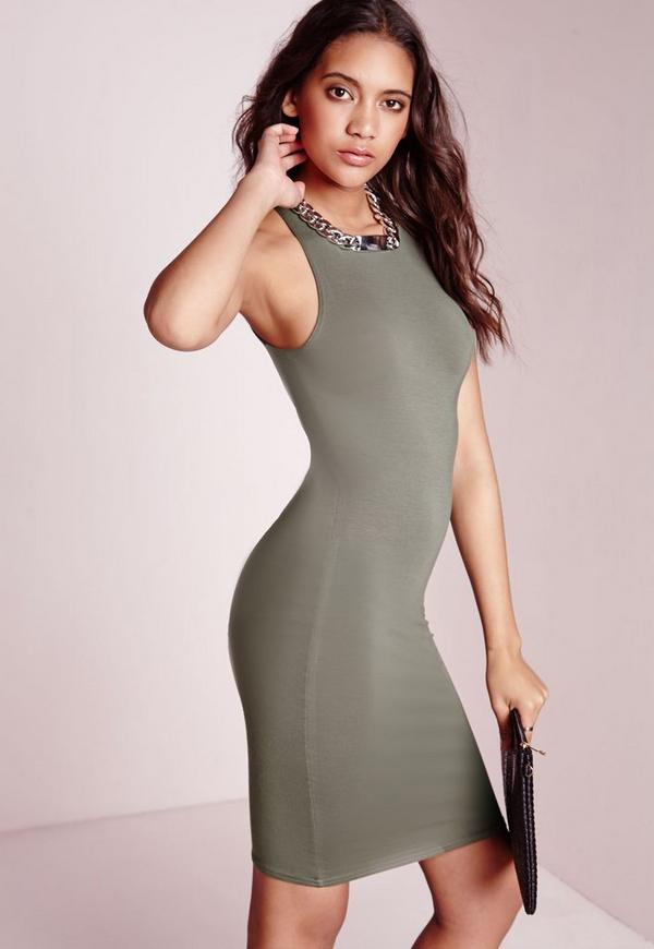 Jersey Racer Bodycon Dress Khaki