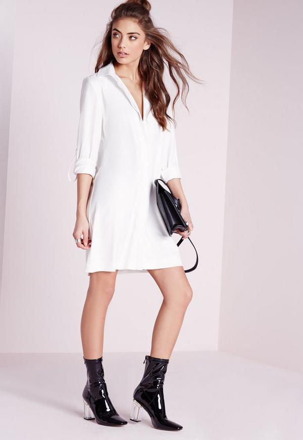 Long Sleeve Shirt Dress White
