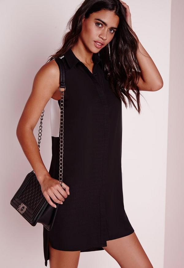 Colour Block Back Shirt Dress Black