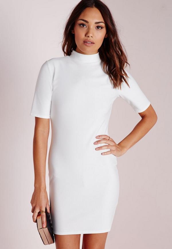 High Neck Short Sleeve Bodycon Dress White