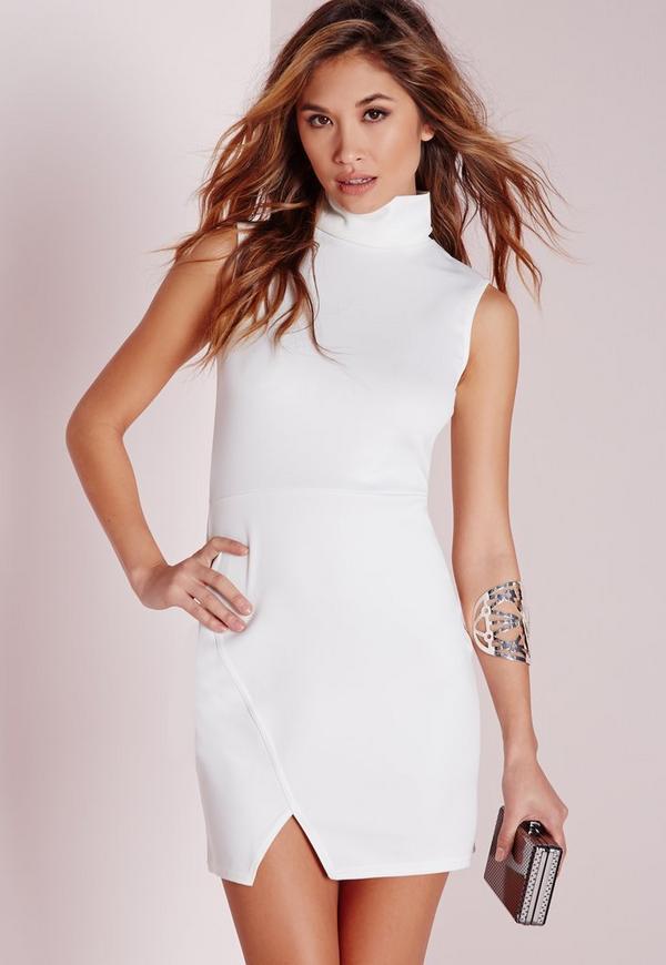 Roll Neck Wrap Hem Bodycon Dress White