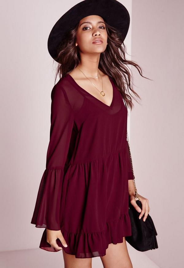 Chiffon Bell Sleeve Swing Dress Burgundy