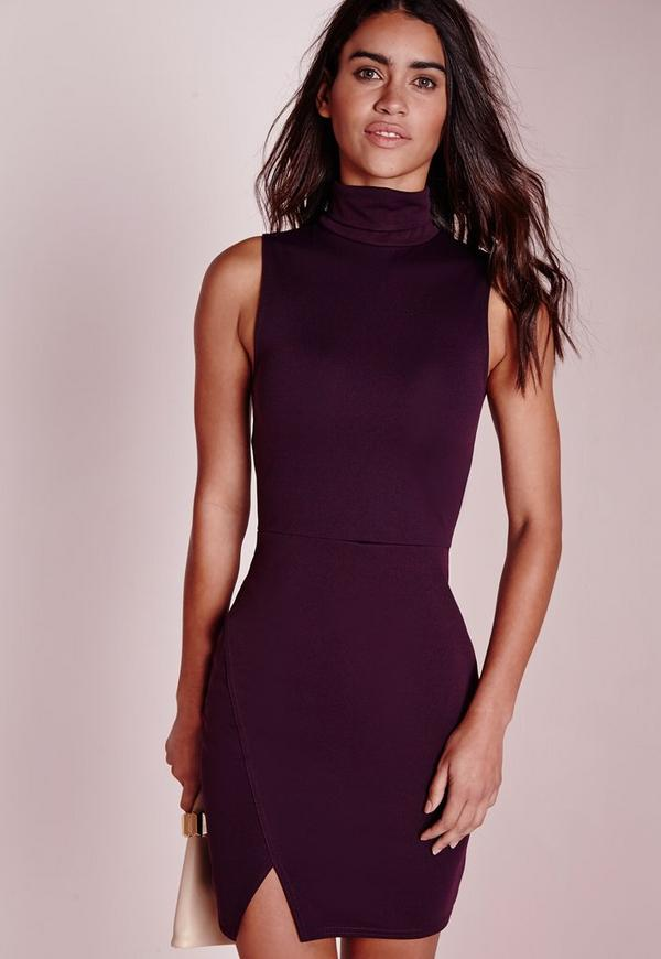 Roll Neck Wrap Hem Bodycon Dress Purple
