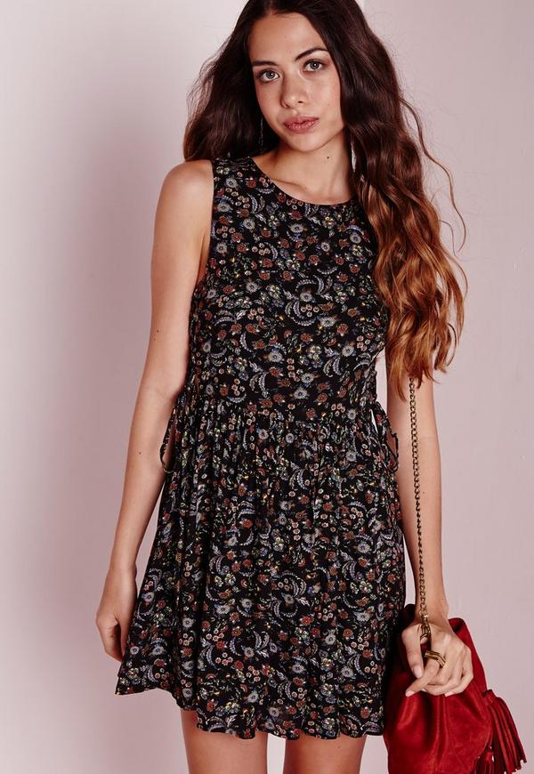 Sleeveless Lace Up Side Dress Black Floral