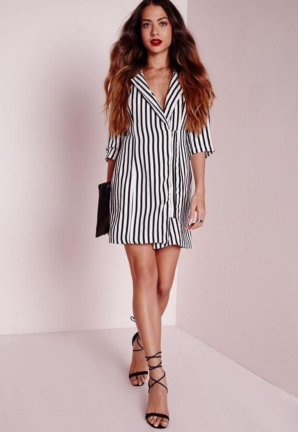 Stripe Tuxedo Wrap Dress White/Black