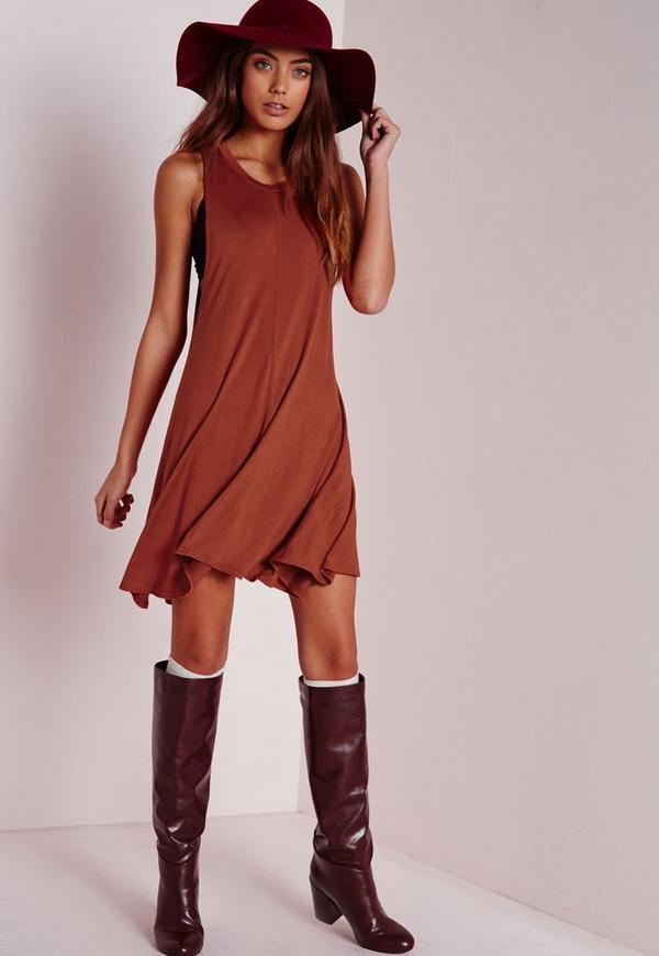 Drop Armhole Jersey Swing Dress Rust