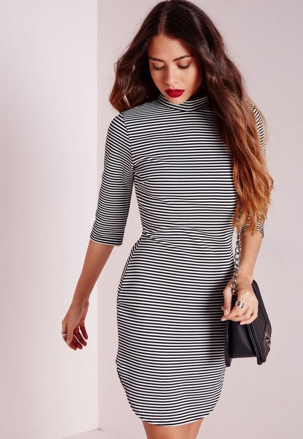 High Neck Striped Bodycon Dress White/Black