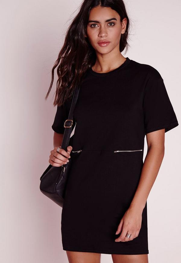 Zip Detail Oversized T-Shirt Dress Black