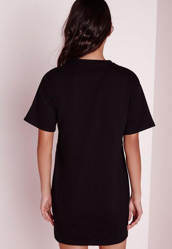 Zip detail oversized t shirt dress black missguided for Zip up dress shirt