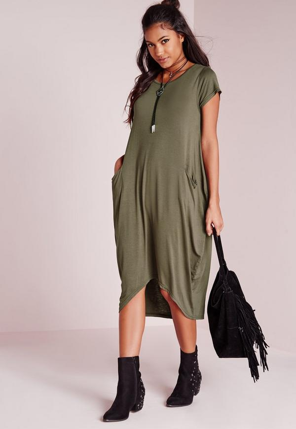 Short Sleeve Pocket Slouchy Midi Dress Khaki