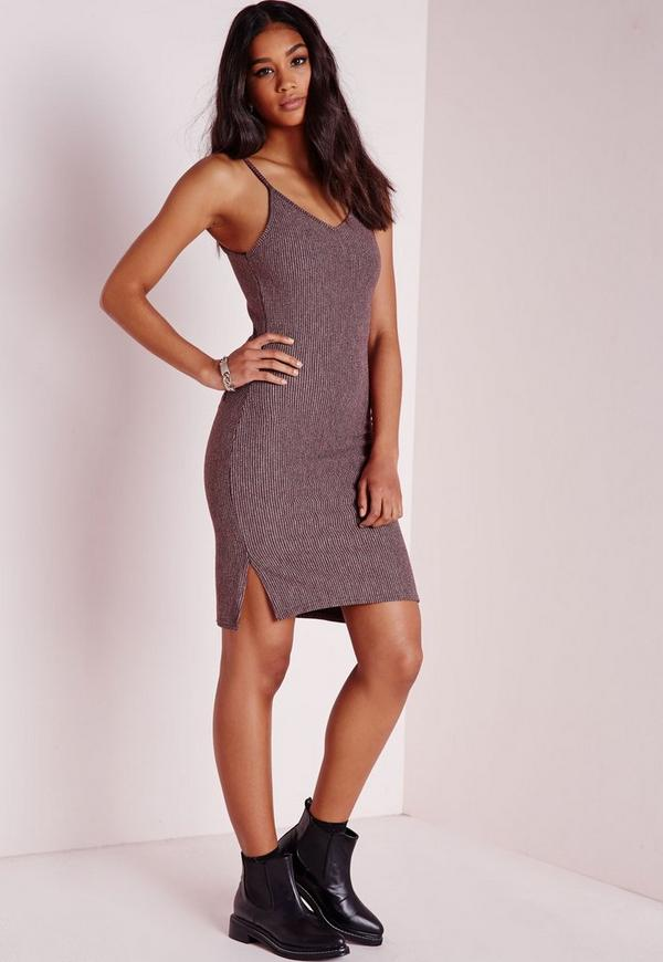 Strappy Split Side Ribbed Bodycon Dress Purple