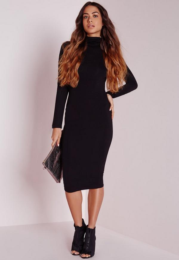 Long Sleeve Roll Neck Jersey Midi Dress Black