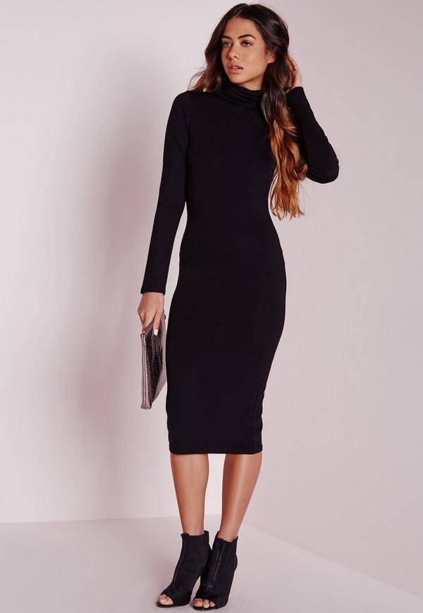 long sleeve roll neck jersey midi dress black missguided
