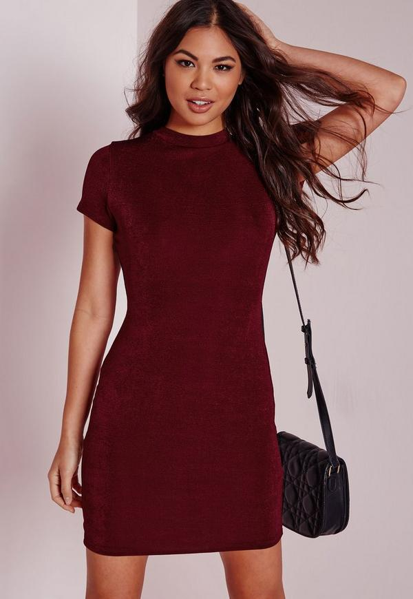 Cap Sleeve Knitted Bodycon Dress Burgundy
