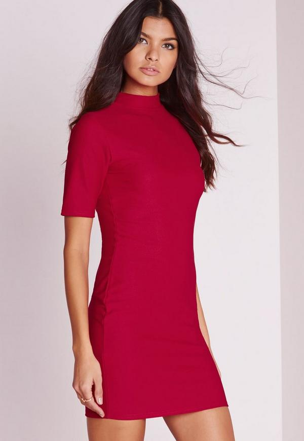 High Neck Short Sleeve Bodycon Dress Red