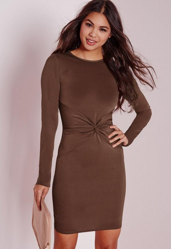 Long Sleeve Twist Front Bodycon Dress Chocolate