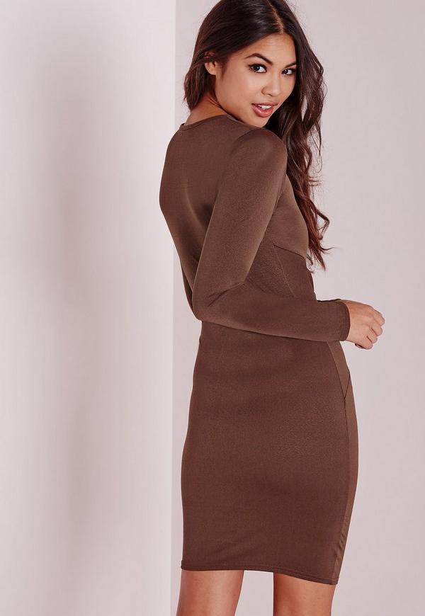 Long sleeve twist front bodycon dress chocolate dresses midi