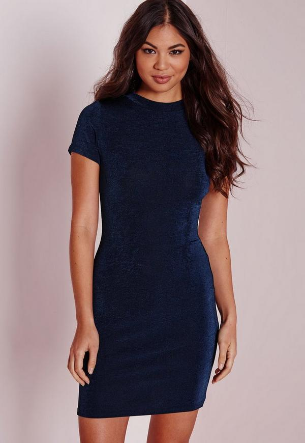 Cap Sleeve Knitted Bodycon Dress Navy