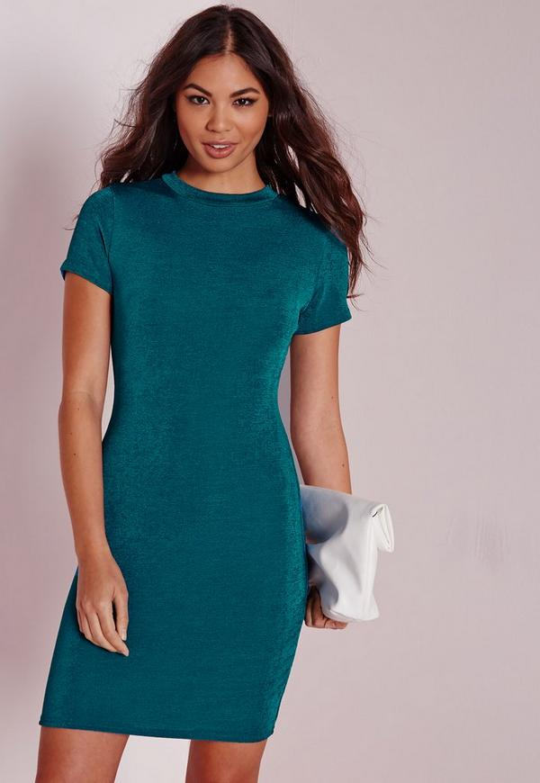 Cap Sleeve Knitted Bodycon Dress Teal