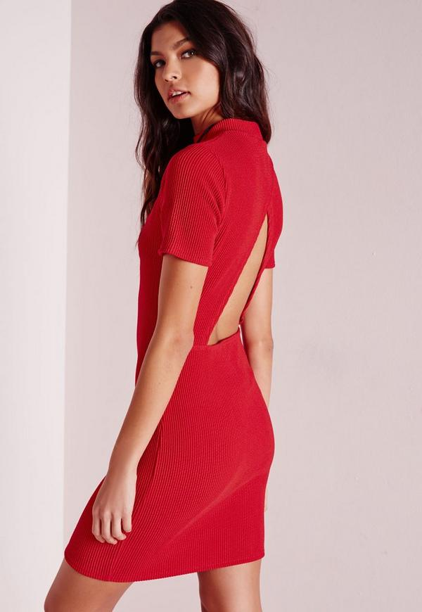 Wrap Back Ribbed Bodycon Dress Red