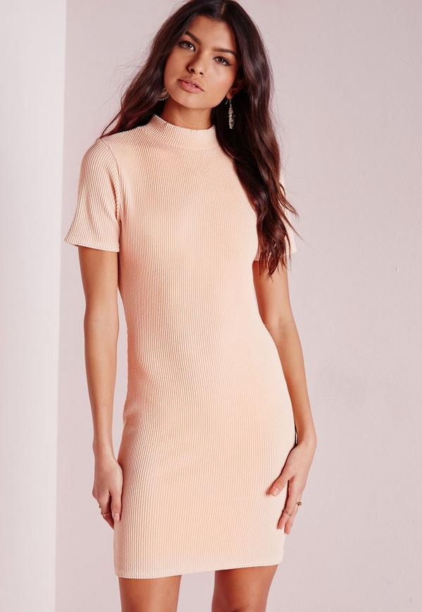 Wrap Back Ribbed Bodycon Dress Nude