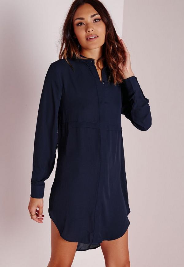 Oversized Shirt Dress Navy
