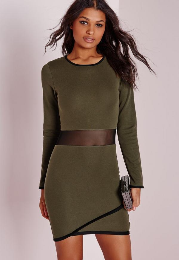Long Sleeve Ponte Contrast Bodyon Dress Khaki/Black