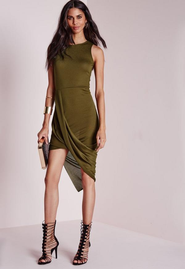 Wrap Front Bodycon Dress Khaki