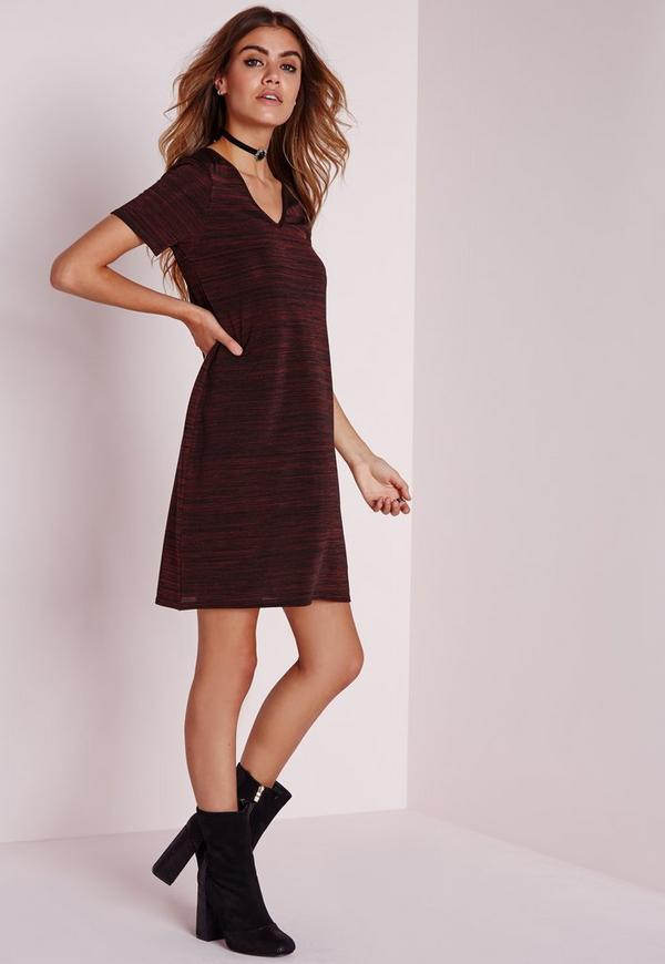 V-Neck Knitted T-Shirt Dress Burgundy