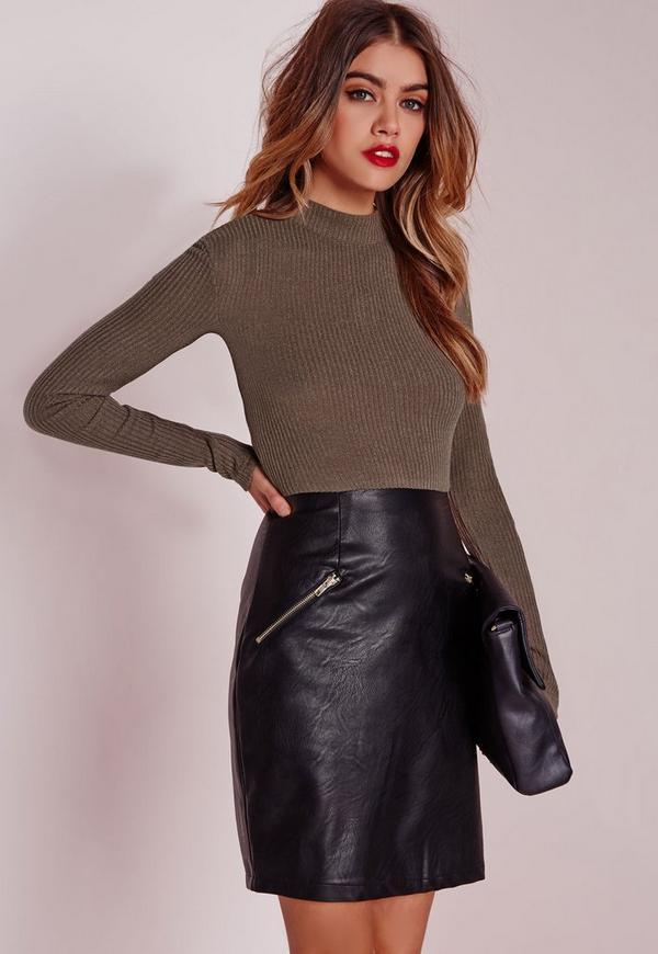 Contrast Bodycon Rib Dress Faux Leather Skirt Khaki