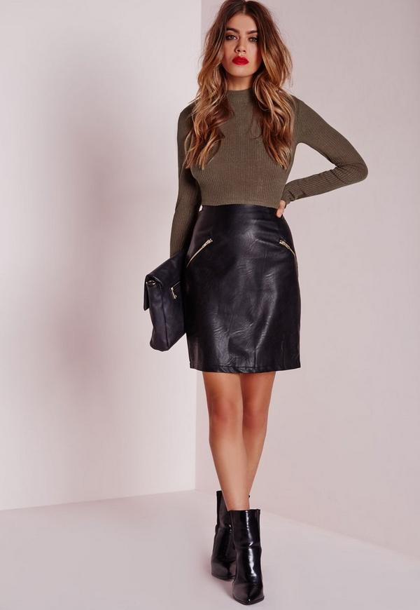 contrast bodycon rib dress faux leather skirt khaki