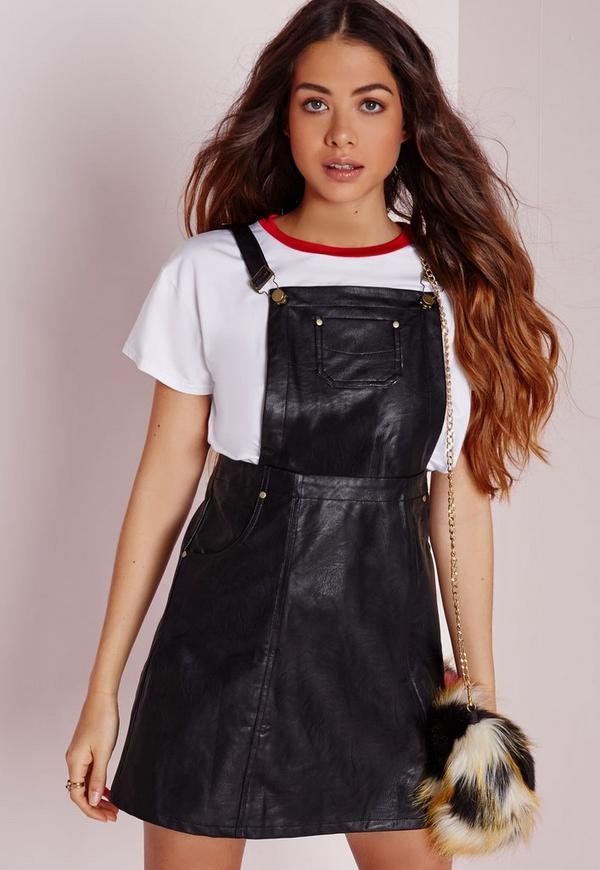 faux leather pinafore dress black