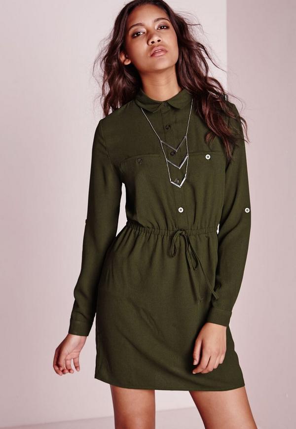 Drawstring Waist Shirt Dress Khaki