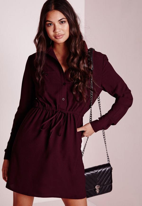 Drawstring Waist Shirt Dress Burgundy