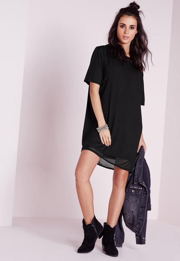 Cut Out Back T-Shirt Dress Black