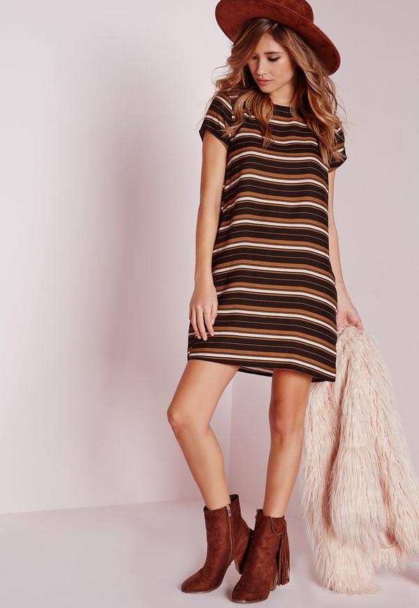 Short Sleeve Woven Stripe Shift Dress Multi