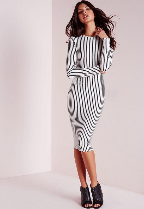 Long Sleeve Ribbed Stripe Midi Dress White/Black