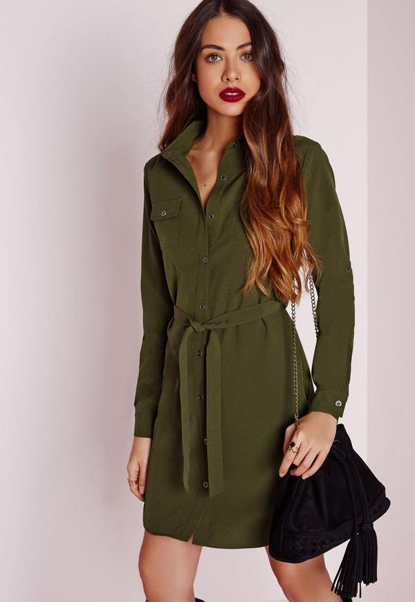 robe chemise ceintur e vert kaki missguided. Black Bedroom Furniture Sets. Home Design Ideas