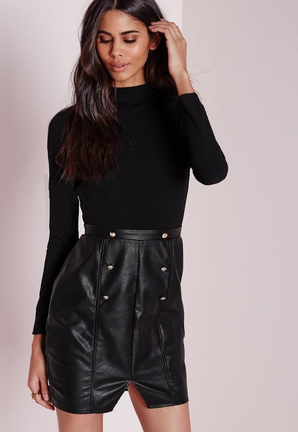Long Sleeve High Neck Top With Faux Leather Skirt Black