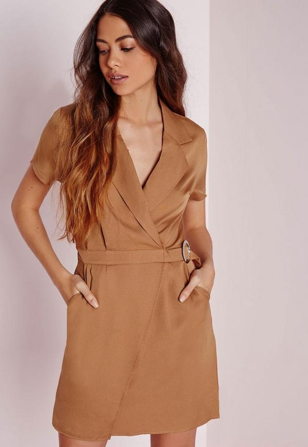 Short Sleeve Circle Ring Wrap Dress Tan