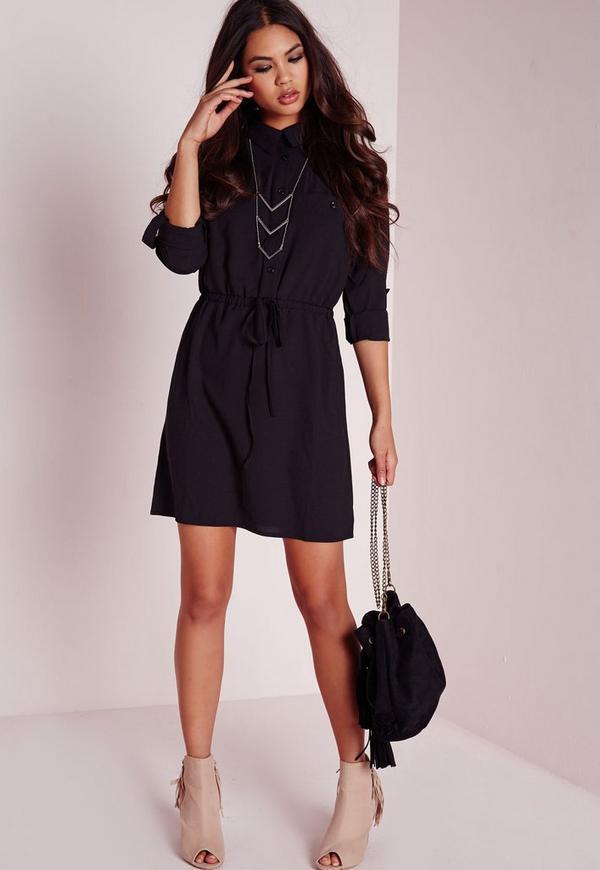 Drawstring Waist Shirt Dress Black