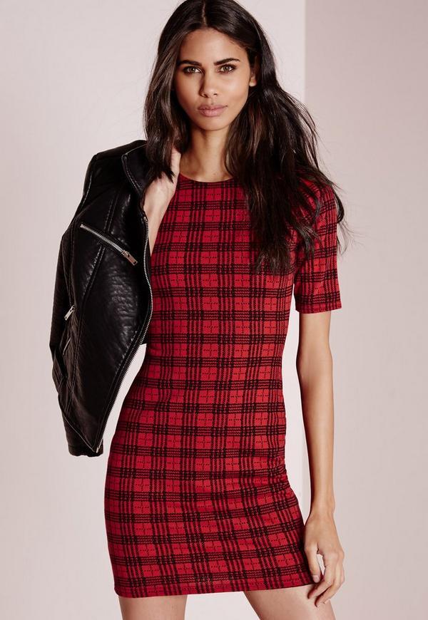 Short Sleeve Check Print Bodycon Dress Red/Black