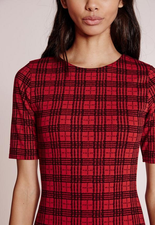 Short Sleeve Check Print Bodycon Dress Red Black Missguided