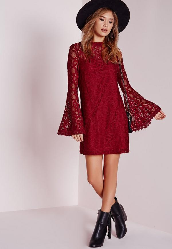 Bell Sleeves Red Polyester Dress