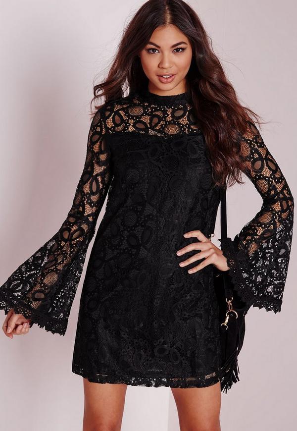 Bell Sleeve Lace Swing Dress Black