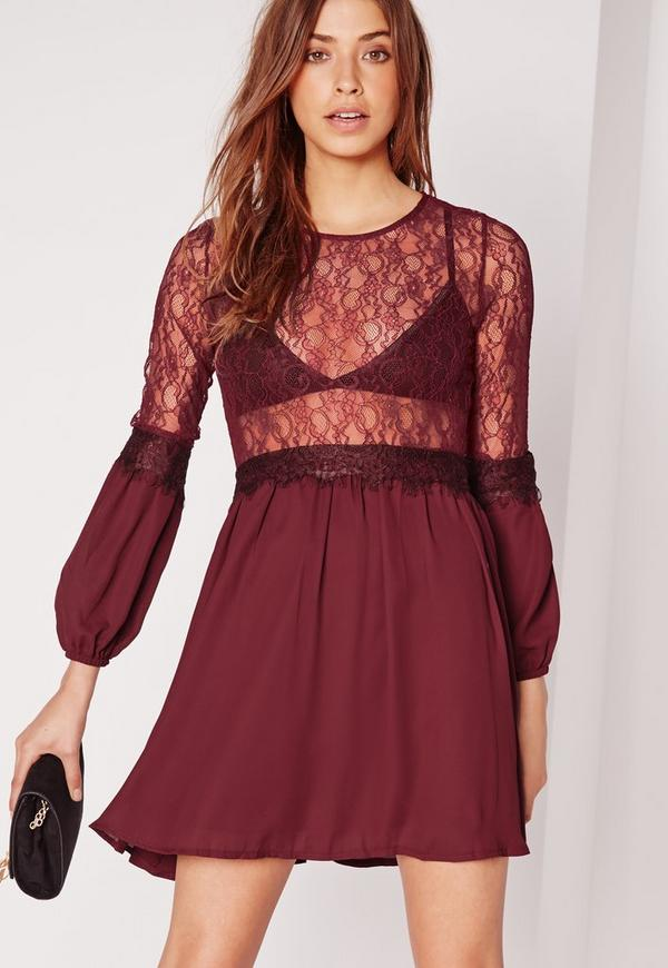 Lace Body Smock Dress Burgundy