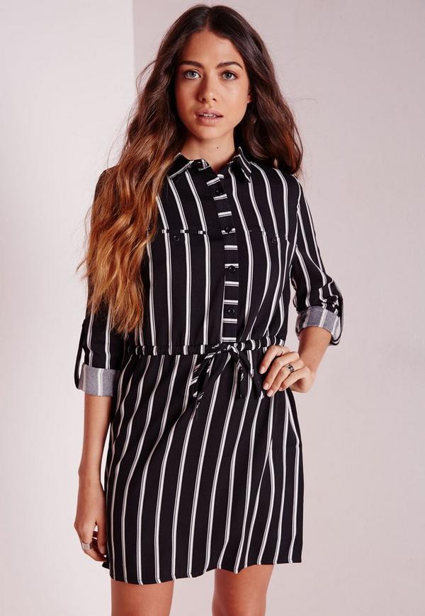 Drawstring Waist Shirt Dress Black Stripe